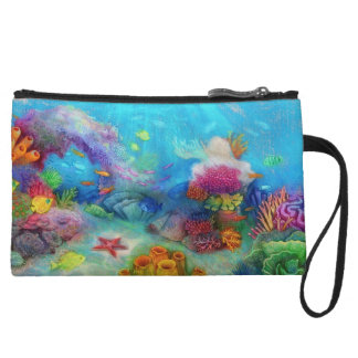 Amazing and colorful coral reef! wristlet wallet