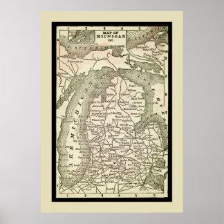 Amazing Antique Map of Michigan Poster