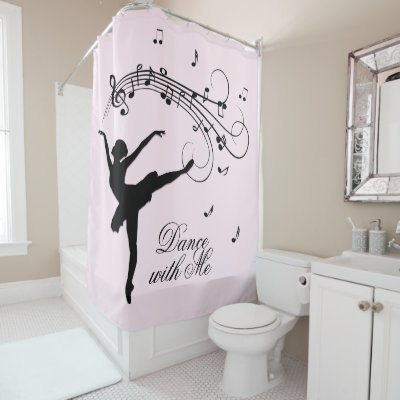 Amazing Ballerina Dancing with Music Pink Shower Curtain