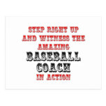 Amazing Baseball Coach In Action Postcard
