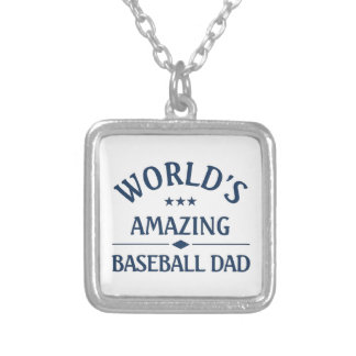 Amazing Baseball Dad Silver Plated Necklace