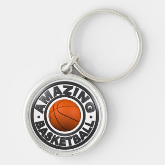 Amazing Basketball Silver-Colored Round Keychain