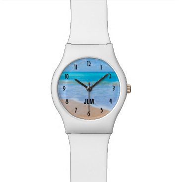 Amazing Beach Tropical Scene Photo Monogram Wristwatch
