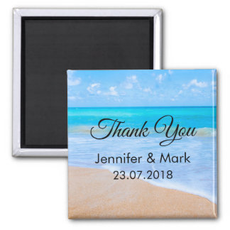 Amazing Beach Tropical Scene Photo Wedding Thanks Magnet