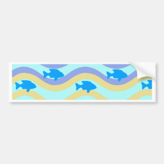 AMAZING BEST SELLING FISH IN WAVES ORNAMENT BUMPER STICKER