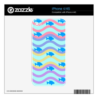 AMAZING BEST SELLING FISH IN WAVES ORNAMENT SKINS FOR iPhone 4