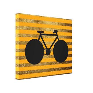 amazing black bicycle & golden stripes canvas print