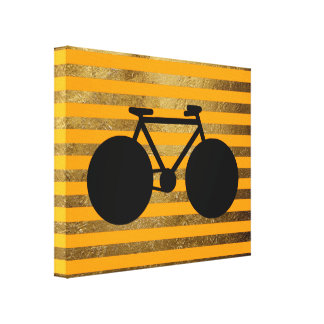 amazing black bicycle & golden stripes canvas print