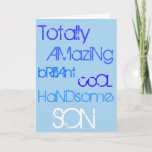"""Amazing Brilliant Cool Handsome Son Happy Birthday Card<br><div class=""""desc"""">Words of praise &quot;To my Amazing Brilliant Cool Handsome Son&quot;,  on a Happy Birthday card.  In crazy blue words on a light blue background.</div>"""