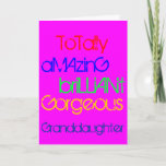 """Amazing Brilliant Gorgeous Granddaughter Birthday Card<br><div class=""""desc"""">To a totally amazing,  brilliant,  gorgeous granddaughter.   A Happy Birthday greetings card with words of praise in red,  blue,  green and yellow text on deep pink.</div>"""