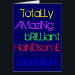 """Amazing Brilliant Handsome Grandson - Birthday Card<br><div class=""""desc"""">Totally Amazing Brilliant Handsome Grandson - A Happy Birthday greetings card with words of praise in yellow,  purple,  green,  red and blue text on a deep blue.</div>"""