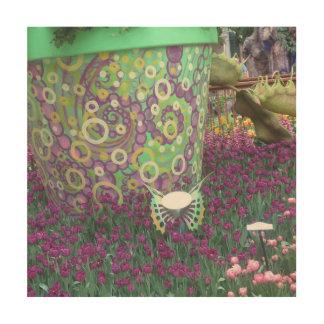 Amazing Butterfly Garden cactus deco Flowers Wood Print