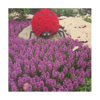 Amazing Butterfly Garden LadyBug Purple Flower Wood Wall Art