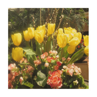 Amazing Butterfly Garden tulip bouquet Flowers Wood Print