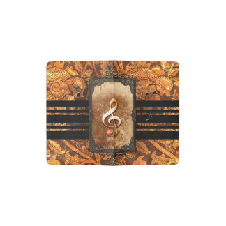 Amazing clef, vintage pocket moleskine notebook cover with notebook