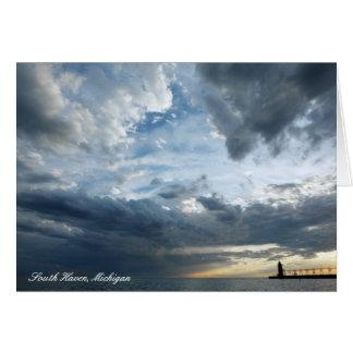 Amazing Cloudy Sunset Over Lake Michigan Card