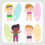 Amazing collection with Surfer Kids Square Sticker