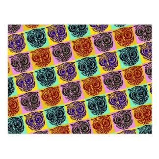amazing color owl pattern postcard