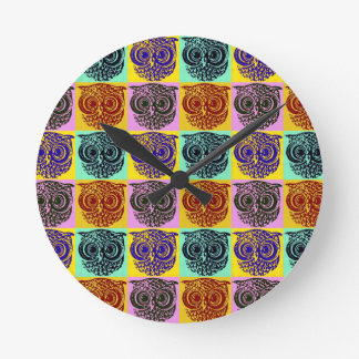amazing color owl pattern round clock