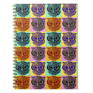 amazing color owl pattern spiral notebook