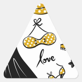 Amazing creative love Icons : black, gold Triangle Sticker