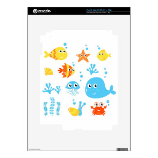 Amazing cute Fishes and Creatures iPad 2 Decal