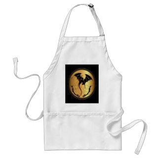 Amazing dragon in gold and black adult apron