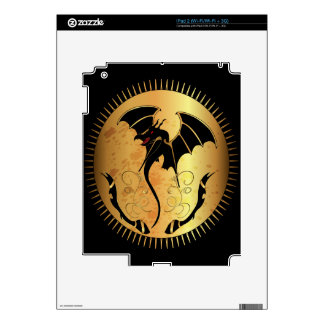 Amazing dragon in gold and black decals for the iPad 2