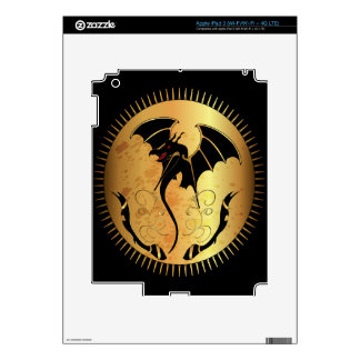 Amazing dragon in gold and black skins for iPad 3