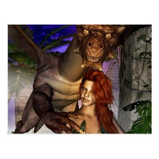 Amazing dragon with elf postcard