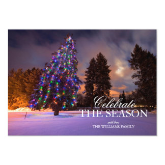 Amazing dusk light and Colored Christmas tree Card