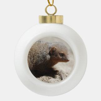 Amazing Dwarf Mongoose Ceramic Ball Christmas Ornament