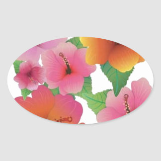 Amazing floral elements oval sticker