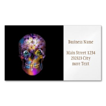 Halloween Themed Amazing Floral Skull A Magnetic Business Card