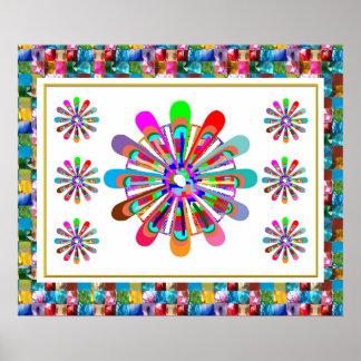Amazing Flower Chakra Art GEM JEWEL BORDER Poster