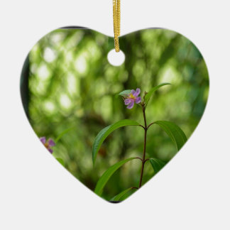 Amazing flower in the world Double-Sided heart ceramic christmas ornament