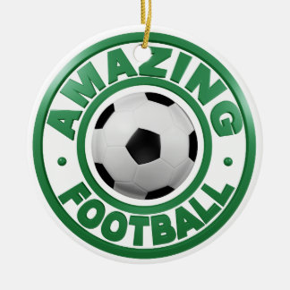 Amazing Football Double-Sided Ceramic Round Christmas Ornament