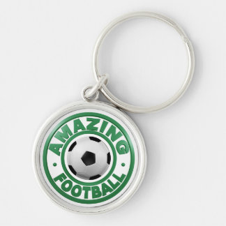 Amazing Football Silver-Colored Round Keychain