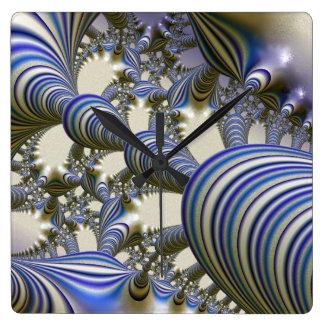 amazing fractal 6181 blue square wall clock