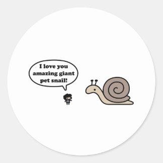 Amazing Giant Pet Snail Classic Round Sticker