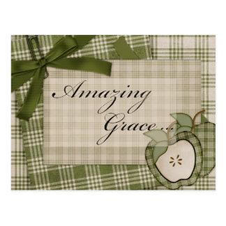 Amazing Grace Apple Plaid Postcard