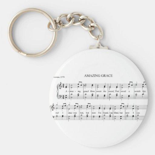Amazing Grace Basic Round Button Keychain
