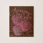 """Amazing Grace Beautiful Pink Rose Typography Jigsaw Puzzle<br><div class=""""desc"""">This has beautiful light pink roses dusted into the background and is the lyrics to Amazing Grace,  a beloved hymn. Perfect gift for anyone.</div>"""