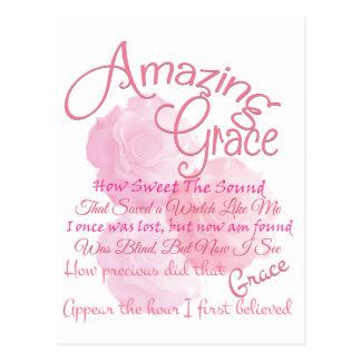 Amazing Grace Beautiful Pink Rose Typography Postcard