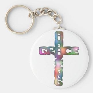 Amazing Grace Cross Basic Round Button Keychain