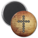 Amazing Grace Cross on Vintage Music Sheet 2 Inch Round Magnet