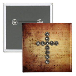 Amazing Grace Cross on Vintage Music Sheet 2 Inch Square Button