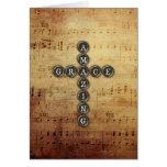 Amazing Grace Cross on Vintage Music Sheet Card