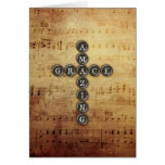 Amazing Grace Cross on Vintage Music Sheet Card