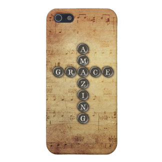 Amazing Grace Cross on Vintage Music Sheet Case For iPhone SE/5/5s